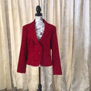 Red Velvet Brocade Blazer